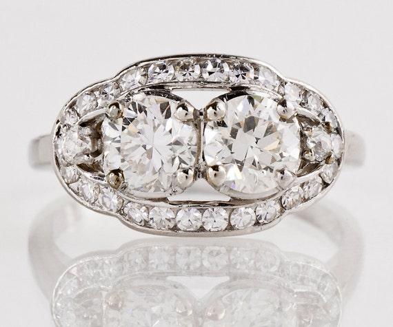 Antique Engagement Ring Antique Platinum 1920s 2Stone