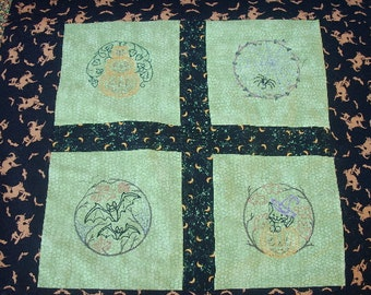 Little Witchy Magic - Table Cloth or Halloween Wall Decoration - Hand Pieced and Machine Embroidered