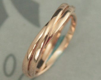 14K Rose Gold Rolling Ring--Rose Gold Interlocking Ring--Three 1.5mm Wide Half Round Bands--Russian Wedding Band--Any Gold Color