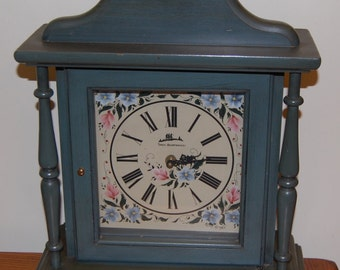 Three Mountaineers Blue Mantle Clock