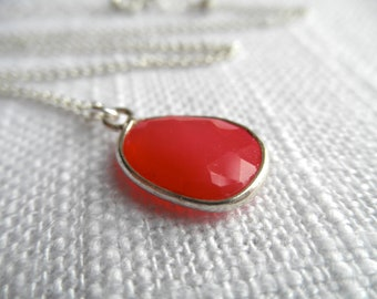Bright pink chalcedony necklace - Pink chalcedony - bright pink necklace - sterling silver necklace- A M E L I A 172