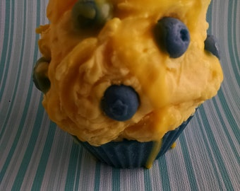 Blueberry Lemon, Cupcake Candle, Soy Wax Candle, Creative Candles, Handmade Cupcake, Home Fragrance, Gifts for Mom, Dessert Candle