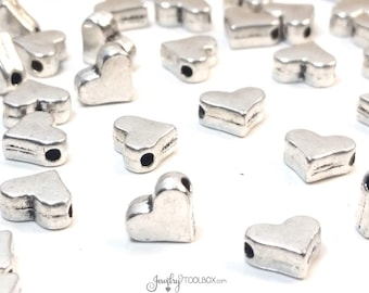 Heart Beads, Silver Hearts, Bulk Metal Bead Findings, Decorative Spacer Beads, Pewter Beads, 7x6mm, 1mm Hole,Lot Size 12 to 50, #1333