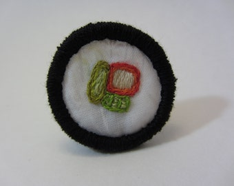California Roll Sushi Hand Embroidered Merit Badge-Style Patch