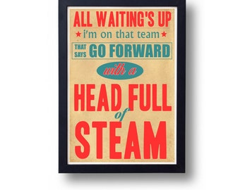 Go Betweens Head Full Of Steam Lyric Typography Wall Art Poster