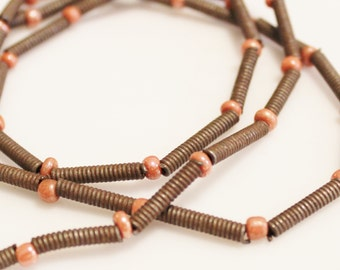 "African Copper Beads Made In Ethiopia 23"" Strand, Tribal Beads, African Trade Beads (k141)"