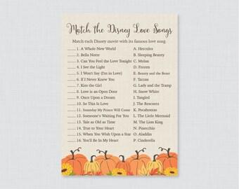 Pumpkin Bridal Shower Game - Printable Disney Love Songs Match Game - Rustic Fall Bridal Love Song Game - Autumn Pumpkin Bridal Shower 0019