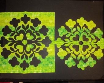 """Green Flower. Die Cut Applique Shapes Hawaiian Quilt. Summer Bouquet by Stacy Michell. 2, 17.5"""" square.  Pos/Neg blocks Fusible (Iron On)"""