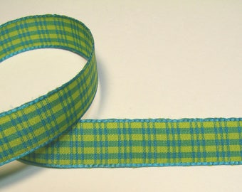 Plaid Ribbon, 13 mm, turquoise, yellow, turquoise, sold by the yard border.