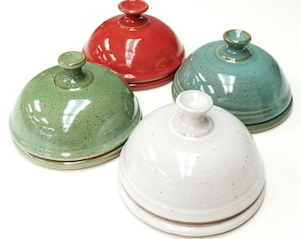 IN STOCK (large) Butter Dish, (FREE pottery Gift with purchase) Green, White or Turquoise, Ceramic Handmade Butter Server