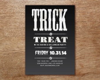 Printable Halloween Invite - Halloween Party Invite - Trick or Treat Black and White Printable Halloween Party Invitation - INSTANT DOWNLOAD