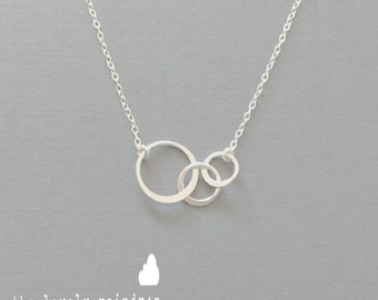 Mini Sterling Silver Triple Circle Necklace - Dainty Minimal Simple Modern - Everyday Jewelry - Wedding Jewelry - Bridal - Simple Everyday