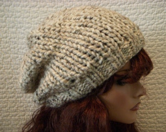 Oatmeal Tweed Extra Slouchy Knit Hat, Beret, Slouch Tam Beanie