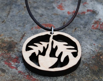 Wooden Peace Necklace Earth Day Jewelry Environmentalist Pendant