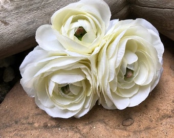 Bridal, Beach, Rustic, White Silk Flower Ranunculus Roses Hair Clip