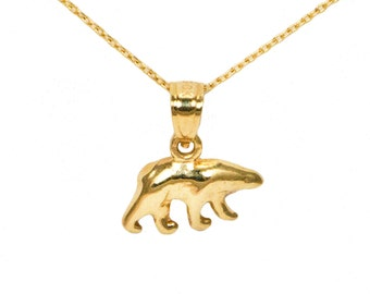 10k Yellow Gold Bear Necklace