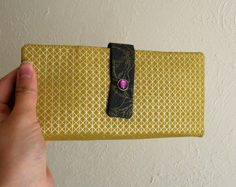 Yellow and Silver Geometric Print - Long Wallet Clutch - Card Slots, Zipper, Cash