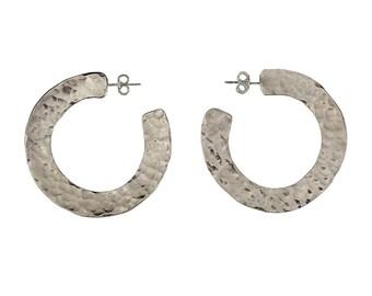 Sterling silver hammered hoops, large thick earrings, brutalist stud, open earring, plain stud hoop, modern minimal jewelry, plain loops