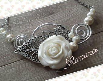Romance necklace, cream white and alluminium chain stanless, wedding, wedding