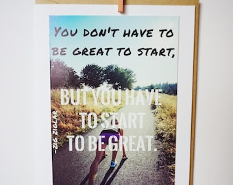 Greatness Starts Here Runner Encouragement Quote Blank Inside Photo Greeting Card