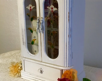 Vintage painted distressed jewelry armoire, jewelry box, chalk paint, Shabby Chic, vintage, wooden jewelry box, upcycled, OOAK