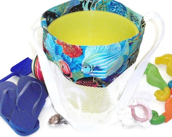 Mesh Toy Bag, Kids Tote, Sand Beach Bag, Tropical Fish, Sand Pail Bag, Mesh Bag For Sand or Pool Toys, Toy Storage Bag, Gift for Kids