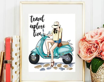 Travel Explore Live, Fashion Illustration, Fashion, Fashion Sketch, Fashion Art, Chic Wall Art, Fashion Print, Fashion Poster
