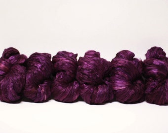 Silk Roving Top Pure Mulberry Hand Dyed Painted Cultivated Petunia