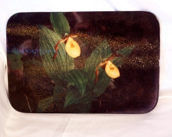 Glass Cutting Board, Yellow Ladyslipper Orchids Design, Home Décor
