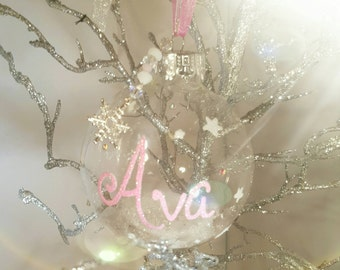 Personalised and embellished christmas bauble