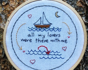 Quote Series: Radiohead's AMNESIAC. Embroidered hoop. 4x4