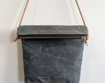 Crossbody waxed canvas purse, zipper pouch
