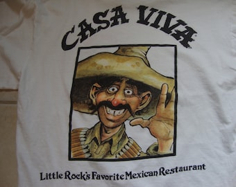 Vintage 80's Casa Viva Mexican Restaurant Little Rock Souvenir White T Shirt Size L