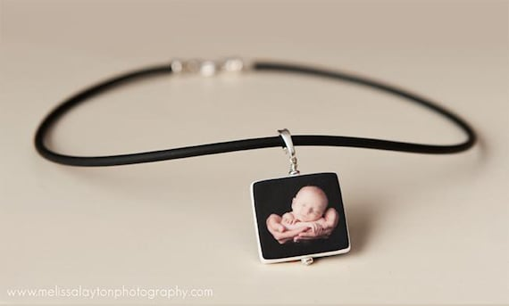 Black Rubber Cord Necklace with Medium Photo Pendant - P2N