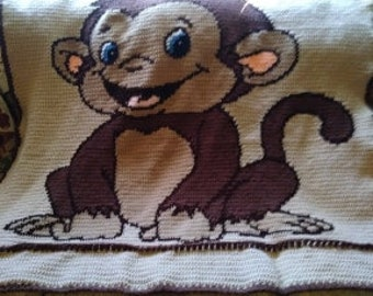 toddler afghan with monkey image