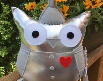 Tin Man Owl Plushie- Inspired by The Tin Man from The Wizard of Oz- Wizard Of Oz Owl Plushie