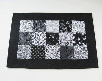 """Quilted Table Runner, Patchwork Table Runner, Black And White Table Runner, 13"""" X 19 1/2"""""""