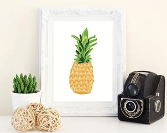 pineapple print 5x7 wall art - fruit decor - pineapple art - fruit art - tropical art - home decor fruit - yellow wall art -kitchen wall art