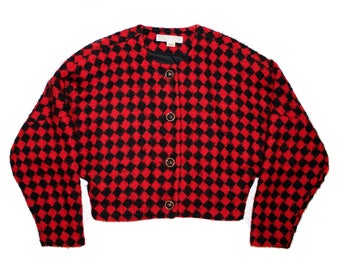 Vintage Black & Red Check Mohair/Wool Jacket // Women's Sweater Size Med // Checked Jacket Med // Mohair Jacket // Red Wool jacket Medium