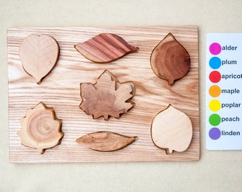 Wooden Leafs Puzzle - Wooden Baby Toy - Montessori Materials -  Educational Toy