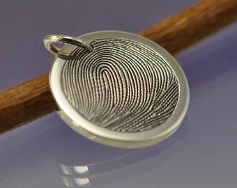 Personalised Fingerprint Charm. Your fingerprint hand engraved on Sterling Silver