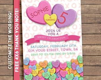 Valentines Birthday Invitation, Valentine's Birthday party Invitation, conversation hearts, printable invitation