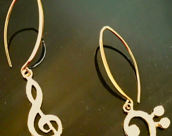 Treble Bass Clef Gold earrings