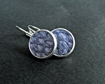Blue salmon leather earrings, luxurious earrings