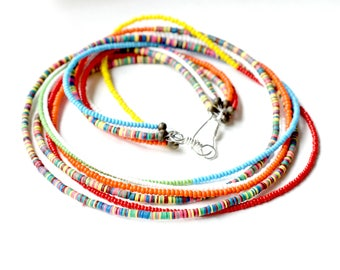 Rainbow: Multi colored necklace, African jewelry, Choker necklace, Ethnic jewelry, Mothers day gift,  Colorful necklace, Boho Jewelry, Gift