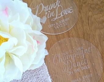 Wedding coasters. Acrylic customised coasters. Set of 10