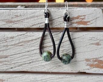 JASPER LEATHER EARRINGS ; sterling silver earrings ; army green and leather earrings; single bead earrings; drop earrings;leather earrings