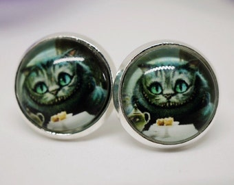 Cheshire Cat Silver Stud Earrings