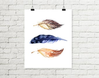 Feather Print, Watercolor Feather Printable Wall Art, Brown & Blue Tribal Wall Art 8x10 Print Boys Room Decor Instant Digital Download
