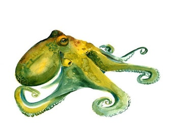 OCTOPUS-10x8inch print-Art Print-Sea Watercolor Print-Giclee Print-